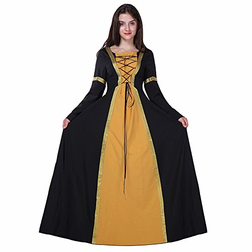 Halloween Sexy Lange Ärmel Queen Prinzessin Kleid Cosplay Charakter Play Kostüm Hexe Damen Mittelalter Gothic viktorianischen Kleid Hochzeit Ball Party (Queen Halloween Drama Kostüme)