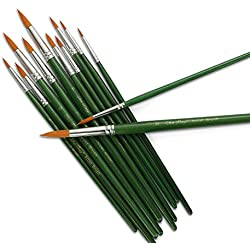 STARVAST pinceles de pintura, 12pcs fina pincel de pintura puntiagudo conjunto artista pinceles de pintura suministros para pintura al óleo de acrílico acuarela-verde
