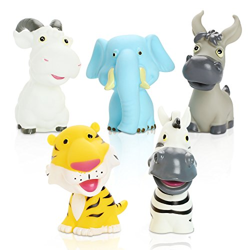Peradix Badewannenspielzeug Wasserspielzeug 5 PCS mit Aufbewahrungs-Rücksack Baby Badetiere Sammelfigur Tiere Figur Groß für Kinder ab 3 Jahre