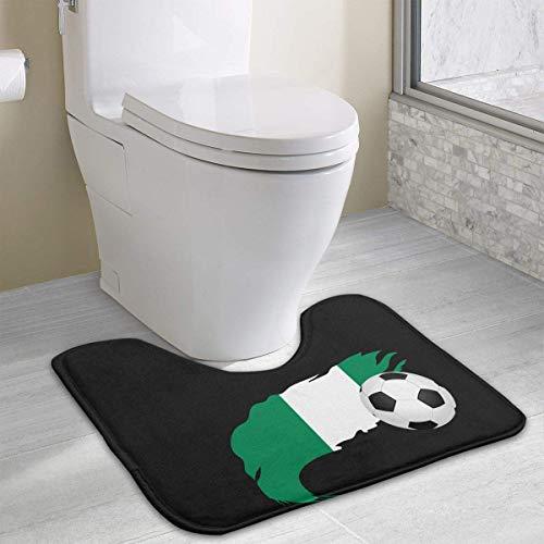Hoklcvd Fußball mit Nigeria-Flagge U-förmige Toilette Boden-Teppich Rutschfeste WC-Teppiche Badematten Teppich - Wc Koi