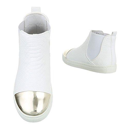 Ital-design Chelsea Boots Scarpe Da Donna Chelsea Boots Moderno Stivaletti Bianco L6206