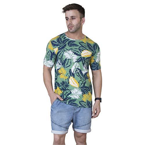 Veirdo Men's Half Sleeve Round Neck Cotton T-Shirt - Multicolor Green