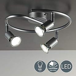 Plafoniera con faretti LED da soffitto orientabili, luce calda, include 3 lampadine GU10 da 3W, lampada moderna da soffitto per cucina, salotto, metallo color titanio, 230V IP20