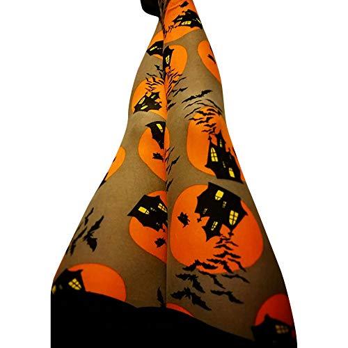(Vovotrade Damen Leggings Hosen Halloween Kürbis Print Mitte Taille Damen Skinny Blumen Drucken Hosen Stretch Damen Slim Bleistift Hosen)