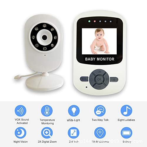 MENGJU Baby Monitor Wireless Digital Audio bidirezionale di Visione Notturna Lullaby ipnosi Piangere Indoor Telecamera Portatile Baby Monitor Anziani,White