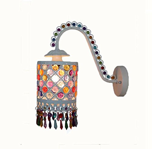 ZT Moroccan Mosaic Wall Sconce Lamp Iron Stained Glass Lampshade E14 Decorative Lighting Fixtures, Without Bulbs