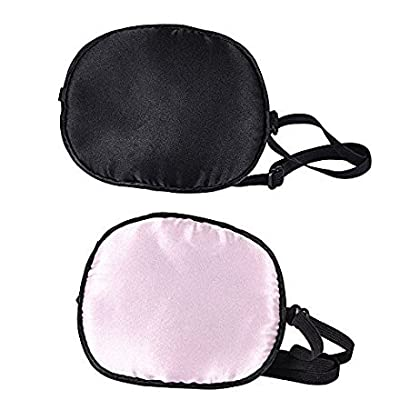 eZAKKA 2 Pieces Eye Patches for Adults Silk Eye Patch Elastic Eyepatche for Lazy Eye Amblyopia Strabismus, Black and Pink