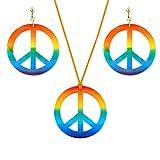 FlYHIGH - Juego de Collar y Pendientes con Colgante de símbolo de la Paz arcoíris de los...
