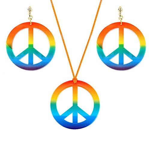 Juego de joyas ninbo hippie de los años 60 y 70, con colgante de sím