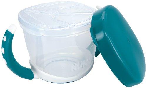 NUK 10255200 Easy Learning Snack Box, praktische Aufbewahrung kleiner Snacks für unterwegs, mit Deckel, BPA frei, petrol (Lamellen Zusätzliche)
