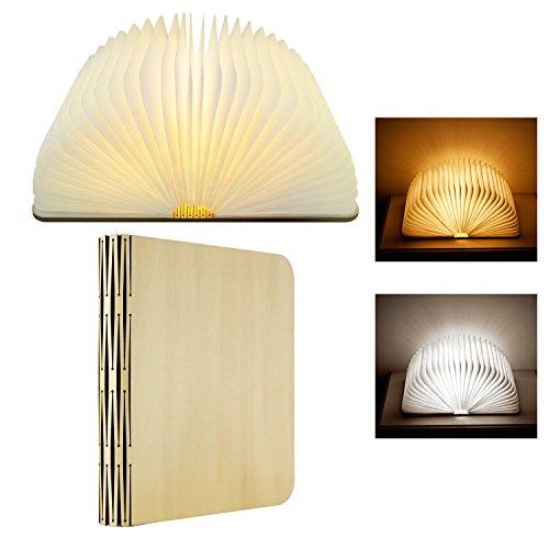 LED-Buch-Lampe Nachtlicht, Kabellos Hölzern 360 ° Klappbuch-Nachtlicht Tischlampe Mit USB Wiederaufladbare 2 Veränderbare Farben Für Dekor Beleuchtung Kinder Schlafen (2 Farben)