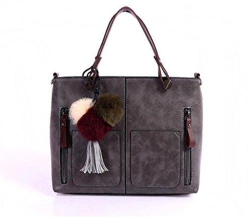 Verziert Faux Pelz (Great Strange Lady Bag Einzelner Schulter-Beutel-Kurier-Beutel PU-Handtasche Verziert mit Pelz pom Shopping Work , grey)