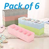 Crasta Retail Plastic Undergarments Innerwear Cosmetic Makeup Drawer Organiser Partition 5 Grids Storage Box Set Box (Assorted Colour) - Pack of 6