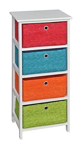 ts-ideen Kommode Regal in Weiß mit 4 Rattan Körben in Orange Grün Blau und Rot -