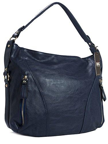 Big Handbag Shop - Borse a spalla donna (Blu)
