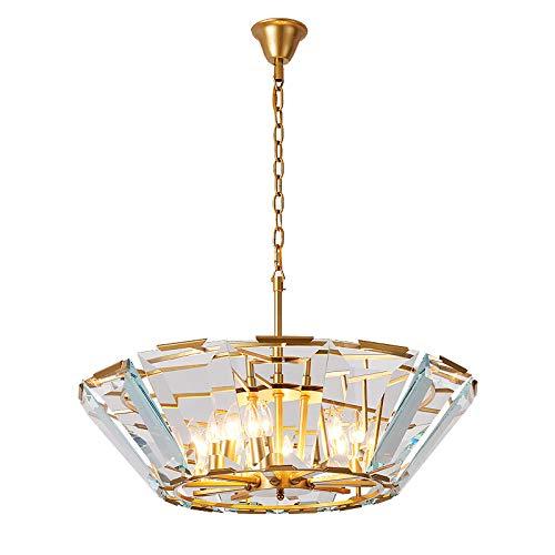 Zauberhaftes Kristall Pendelleuchte Modernen Elegantem Einmaliges Stilvoller K9 Klar Glasanhänger 8-Flammig E14 Einbauleuchten Höhenverstellbar Esszimmer Schlafzimmer Wohnzimmer Innenbeleuchtung,Gold