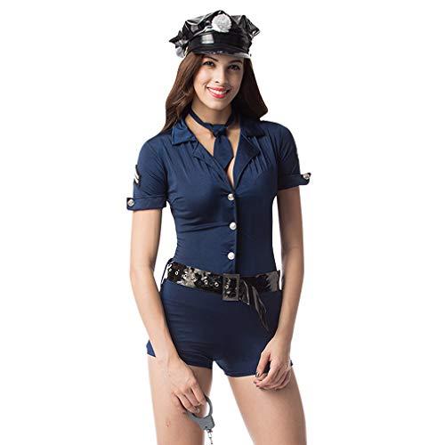 Polizei Frauen Kostüm - Cloud Kids Damen Polizei Kostüm Frauen Clubwear Uniform Kostüme für Cosplay Karneval Halloween Fasching Party (L, Dunkelblau)