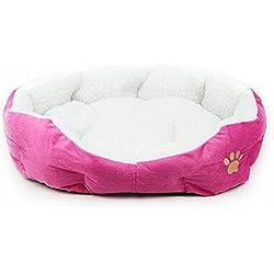 Cdet Cama para mascotas redonda o de forma oval dimple fleece nesting perro cueva para gatos y perros pequeños,Rosa roja