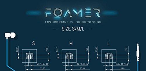 FOAMER F4.9 (L 6) • 6 Paar Noise Cancelling Schaum Ohrpolster für In Ear Kopfhörer • Ersatz für Silikon Ohrhörer Aufsatz • Extra Bass & Klarer Klang • InEar Ohrstöpsel, Memory Foam Earphone Tips - 5