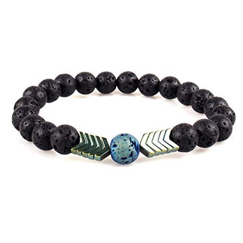 WODESHENGRI Armbänder,Frauen Yoga Armband Natürliche Energie Aus Vulkangestein Charme Armbänder Armreifen Elastische Fashion Grüner Pfeil Perlen Armbänder Schmuck Geschenk (Grüner Pfeil Kostüm Muster)