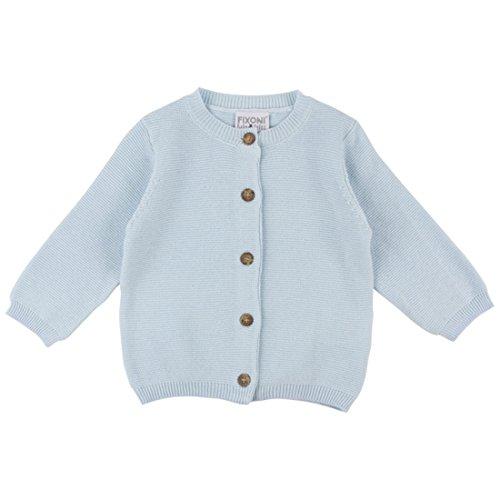Fixoni unisex Baby- und Kinder Strickjacke, 100% Baumwolle, Hellblau, Knit Cardigan Cashmere Blue 32430, Gr. 86