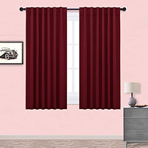 Blackout Curtains Drapes Thermal Insulated - PONY DANCE Room Darkening Solid Soft Back Tab & Rod Pocket Blackout Curtain Panels for Decoration,Window Treatments Width 52
