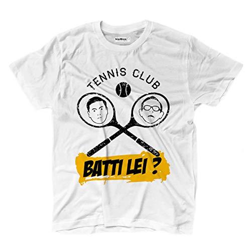 KiarenzaFD T-Shirt Film Trash Comici Tennis Filini Vs Ragionier Ugo Batti Lei Cult Anni 80 XXL weiß
