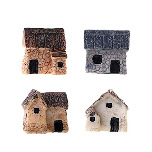Guoyy - Juego de 4 Unidades de Casitas de Piedra para jardinería en Miniatura, Paisaje, decoración de jardín