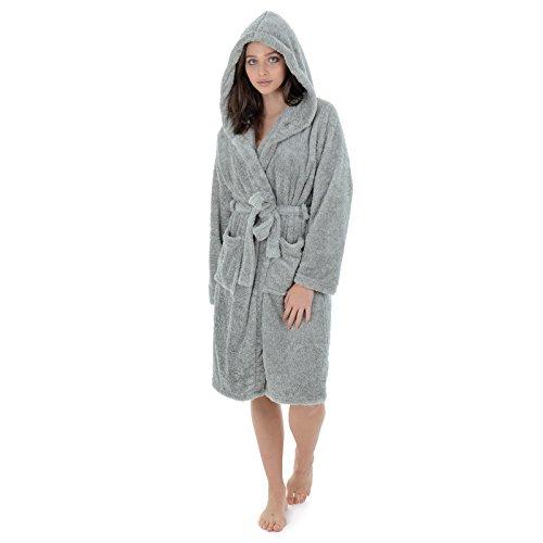 Autumn Faith Womens Bathrobe With Hood Soft Fluffy Warm Grey Fleece Luxury Dressing Gown Knee Length Ladies House Coat Wrap Nightwear