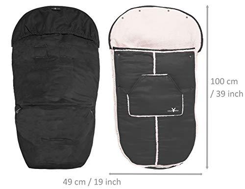 Imagen 2 de Wallaboo Manta arrullo de invierno para bebé, es ideal para cochecitos de bebé, universal Maxi Cosi, Bugaboo, Maclaren, BabyBjörn, Chicco, de 6 a 36 meses, Resistente al Viento y al Agua, Muy Práctica y ultra Suave, 100 x 48 cm,, Color: negro