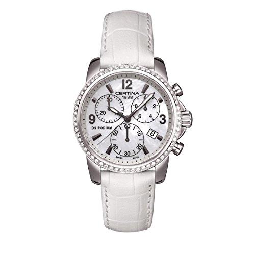Certina DS Podium Femme 34mm Bracelet Cuir Blanc Boitier Acier Inoxydable Quartz Montre C001.217.16.117.10