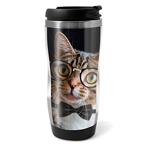 16718 Reisebecher mit Brillen, Motiv Katze mit Augen, 330 ml