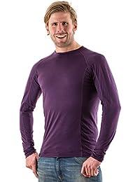 EDZ 150g Merino Wool Mens Long Sleeve Crew Neck Base Layer Top Purple