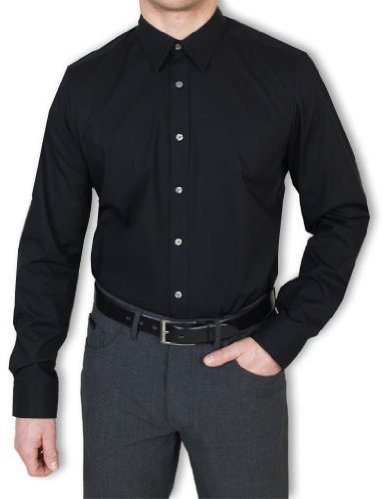 Herren Hemd Level Five Body Fit Langarm Gr. 40 Schwarz