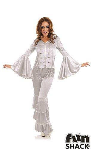 mittelgroß, für Damen Silber Dancing Queen Kostüm für 70s Jahre Disco Abba Kostüm (Disco Dancing Queen Kostüm)