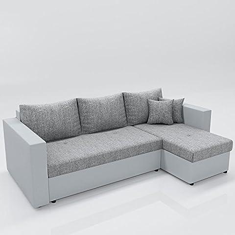 Ecksofa mit Schlaffunktion Grau Weiß - Stellmaß: 224 x 144