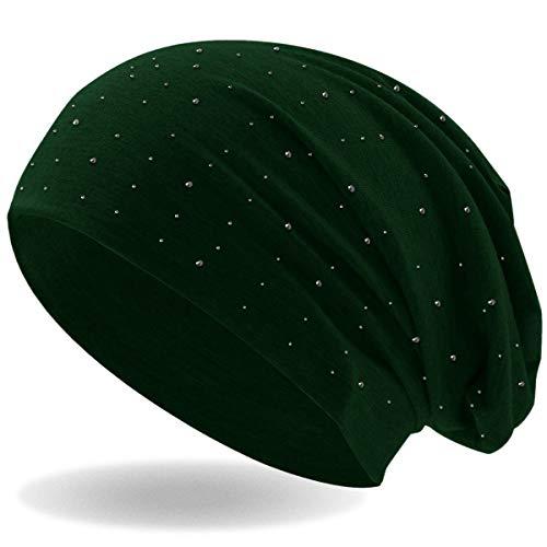 Hatstar Strass Stein Beanie Slouch Long Beanie Mütze mit Edler Strass-Nieten Applikation für Damen und Herren (Dunkelgrün)