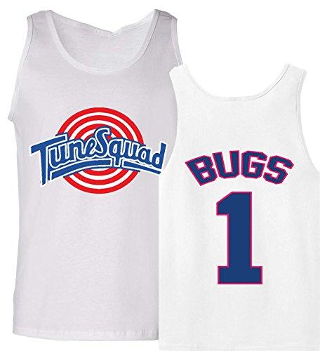 The Silo Tunesquad Bugs Bunny Tank Top Jersey, Herren, weiß, Adult (Herren Bugs Bunny Kostüm)
