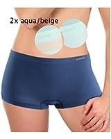 2 Stück Seamless Hotpants ohne Naht uni und gestreift gemischt, aqua/beige, blau/beige & lachs/beige, Grössen S/M & L/XL