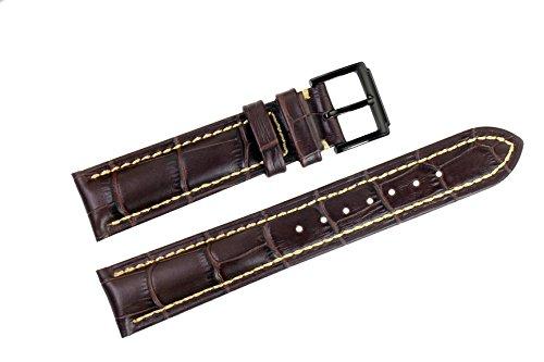 20mm-dunkelbraun-italienischen-luxus-lederersatzuhrenarmbander-bands-handgemachte-gros-grain-genaht-