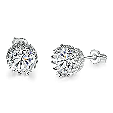 Gnzoe Jewelry 18K Silver Plated Stud Earrings Women Round Brilliant Crystal Eco Friendly