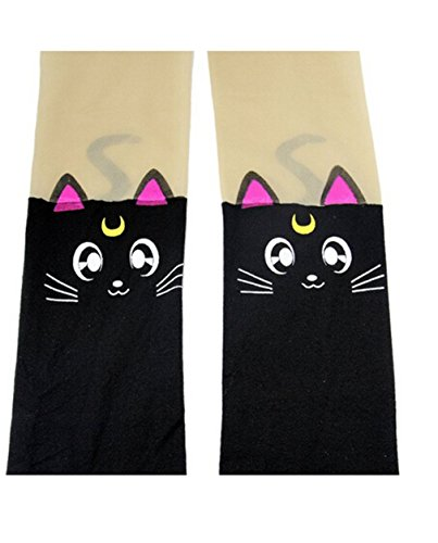Anime Sailor Moon Luna Katze Nette Enge Printing Socken Cosplay Kostüm Strumpfhosen (Black(Sailor (Sailor Kostüm Luna Moon)