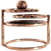 DuNord Design Beistelltisch Couchtisch PLATE 3 Art Deco Schwarzes Glas Kupfer Retro