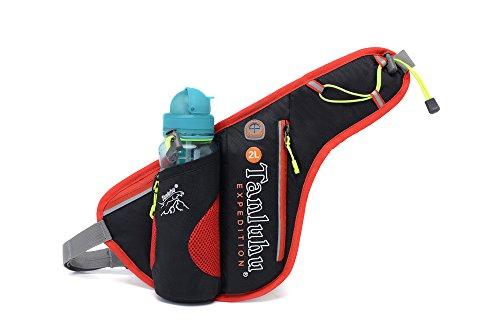 Ibssports Hüfttasche Multi-Funktion Gürteltasche Wasserabweisende Bauchtasche Flache Taille Tasche mit Flaschenhalter und Telefon Earp lüg Draht Loch zum Sport und Reisen Schwarz