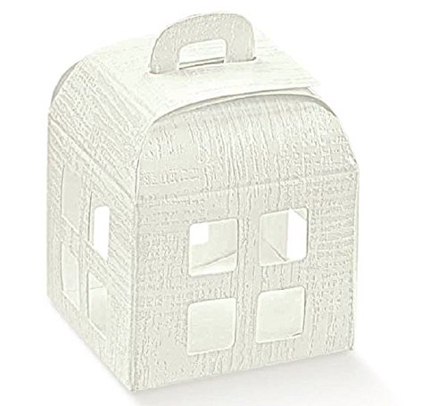 80 scatole confezione regalo lanterna bomboniera matrimonio 8 x 8 x 10.5 cm tela bianca
