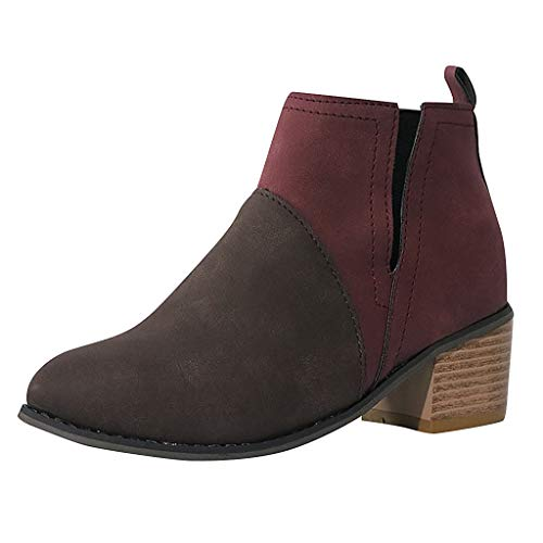 Ears Damen Freizeitstiefel Mode Round Toe Stiefel Joint Thick Square Heel Stiefel Schuhe Plus Größe Stiefeletten Freizeit Wedge Heels Freizeit High Heels Plus Größe Sportschuhe Leder Boots Plus Square Neck
