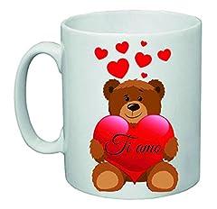 Idea Regalo - Tazza 8 x 10 Ceramica Scritta Ti Amo Orsetto Cuore San Valentino Amore