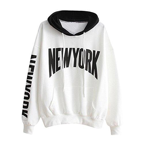 Hoodie Pullover Damen Btruely Herbst Winter Mädchen Kapuzenpullover Hooded Sweatshirt Casual Lose Top (L, Weiß) (Buchstaben Shirt Weiß)