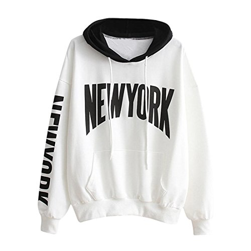 Hoodie Pullover Damen Btruely Herbst Winter Mädchen Kapuzenpullover Hooded Sweatshirt Casual Lose Top (L, Weiß) (Feinstrick-mischung)