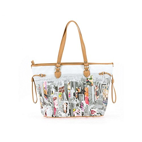 BORSA DONNA SHOPPING A SPALLA YOU BAG STAMPA NEW YORK FASHION NUOVA ORIGINALE CON ETICHETTE